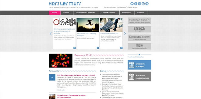 프랑스 서커스・거리예술 국립지원센터 오르레뮈르 홈페이지 ©Hors les Murs
